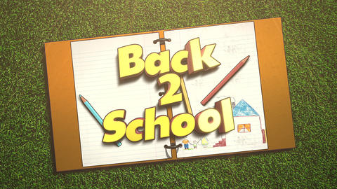 Animated closeup text Back to School and closeup of kids background with notebook and pencil, school Animation