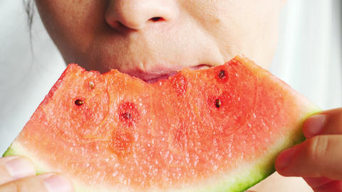 woman eat eating fresh refreshing juicy watermelon summer Live Action