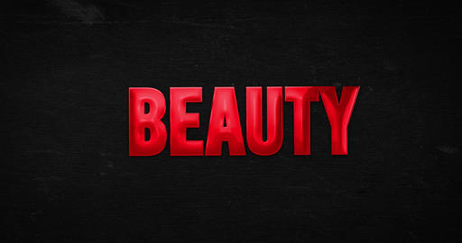 Beauty. Glossy red word Animation