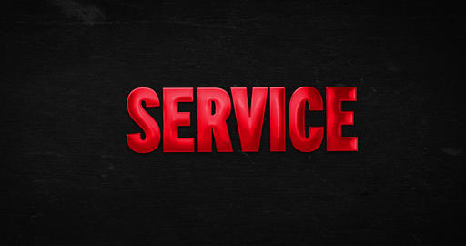 Service. Glossy red word Animation
