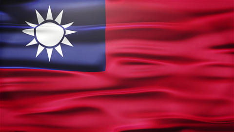Realistic Seamless Loop Flag of Taiwan Waving In The Wind With Highly Detailed F Animation