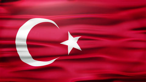 Realistic Seamless Loop Flag of Turkey Waving In The Wind With Highly Detailed F Animation