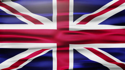Realistic Seamless Loop Flag of United Kingdom Waving In The Wind With Highly De Animation