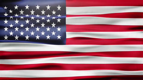 Realistic Seamless Loop Flag of United States of America Waving In The Wind With Animation