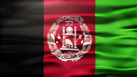 Realistic Seamless Loop Flag of Afghanistan Waving In The Wind With Highly Detai Animation