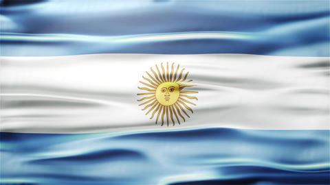 Realistic Seamless Loop Flag of Argentina Waving In The Wind With Highly Detaile Footage