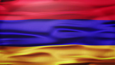 Realistic Seamless Loop Flag of Armenia Waving In The Wind With Highly Detailed  Animation