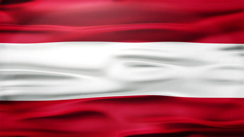 Realistic Seamless Loop Flag of Austria Waving In The Wind With Highly Detailed  Animation