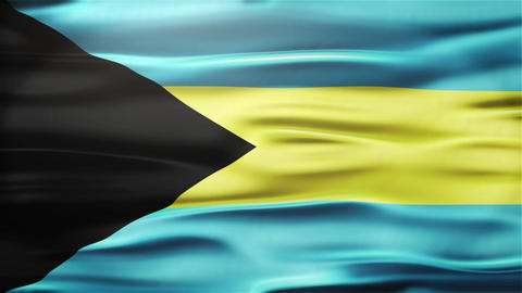 Realistic Seamless Loop Flag of Bahamas Waving In The Wind With Highly Detailed  Animation