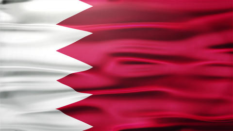 Realistic Seamless Loop Flag of Bahrain Waving In The Wind With Highly Detailed  Animation