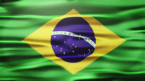 Realistic Seamless Loop Flag of Brazil Waving In The Wind With Highly Detailed F Animation
