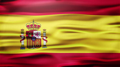 Realistic Seamless Loop Flag of spain Waving In The Wind With Highly Detailed Fa Animation