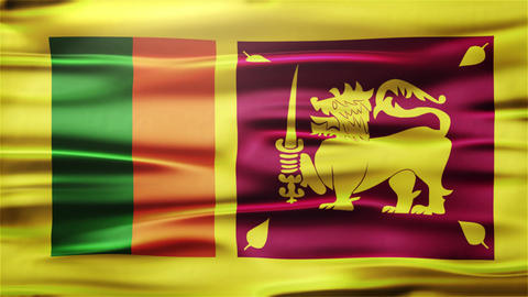 Realistic Seamless Loop Flag of Sri Lanka Waving In The Wind With Highly Detaile Animation