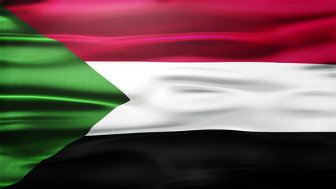 Realistic Seamless Loop Flag of Sudan Waving In The Wind With Highly Detailed Fa Animation