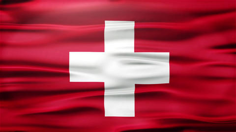 Realistic Seamless Loop Flag of Switzerland Waving In The Wind Animation