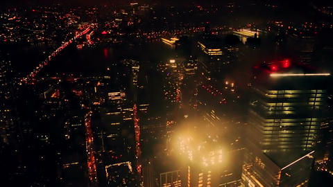 Aerial View at Night New York City Footage