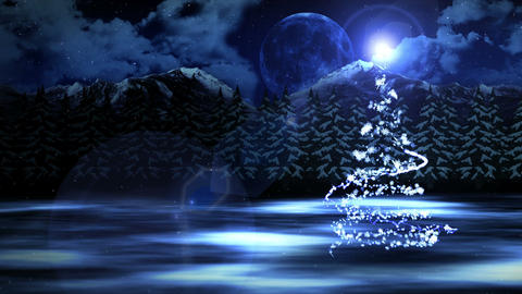 New Year's Snow Christmas and the Moon,Loop Animation