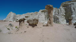 Brown and White Sandstone cliff's and hoodoo's in the desert of Southern Utah Footage