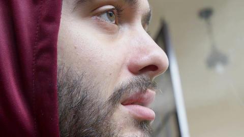 bearded guy smoking weed, home scene, hoodie Footage