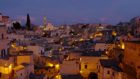 city lights, ancient Matera, monumental city, history Footage