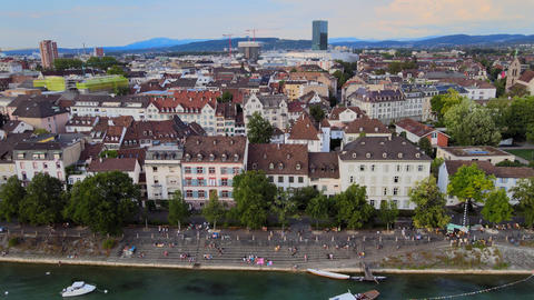 Historic district of Basel in Switzerland and River Rhine - aerial view Live Action