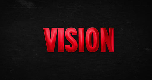 Vision. Glossy red word Animation