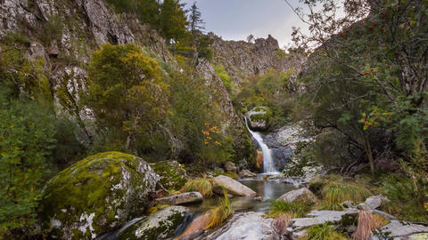 Waterfall in the Hell's Well trail trek, Serra da Estrela Natural ParK, Portugal - Timelapse Live Action