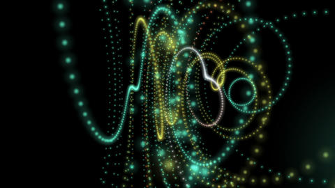 Futuristic video animation with particle stripe object in motion, loop HD Animation