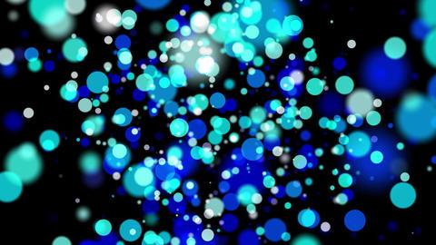 青色のパーティクルバブルが漂う回転する空間 CG動画