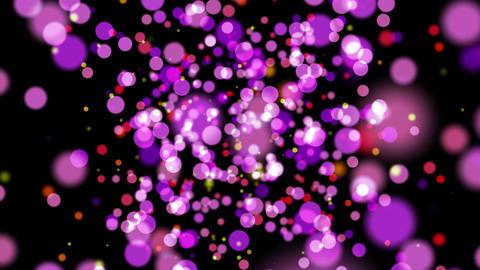 ピンクのパーティクルバブルが漂う回転する空間 CG動画