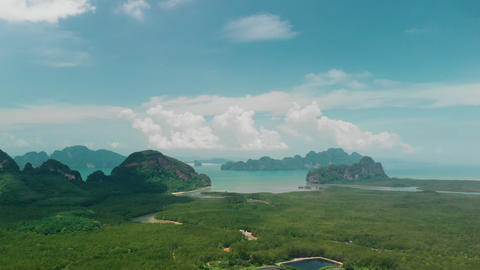 Aerial view of Toh Li View Point, Phang-Nga Province, Thailand Live Action