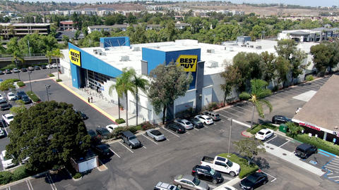 Aerial view of Best Buy multinational electronics store Live Action