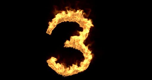 Burning number three on a transparent background Animation