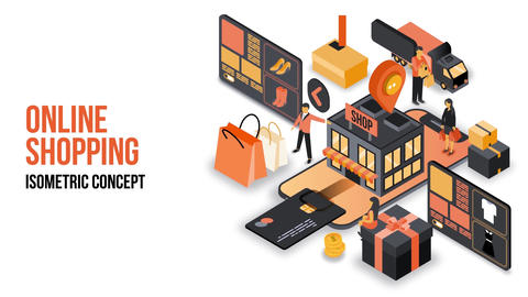 Online Shopping - Isometric Concept After Effects Template