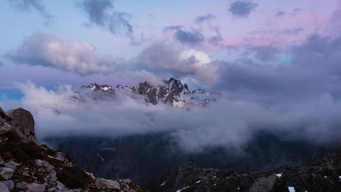 The central massif of the Picos de Europa National Park, Spain, at the twilight hour Live Action