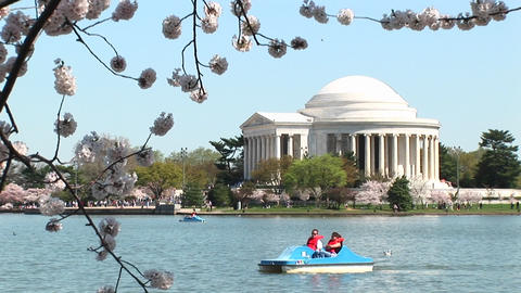 A small boat crosses in front of the Jefferson Memorial... Stock Video Footage