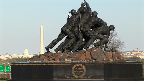 The camera slowly pans-up the Iwo Jima Marine Corps... Stock Video Footage