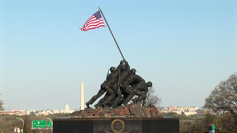 The camera slowly pans up the Iwo Jima Marine Corps Memorial Footage
