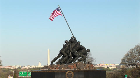 The camera slowly pans up the Iwo Jima Marine Corps Memorial Stock Video Footage