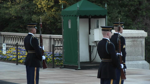 Three soldiers guard the tomb of the unknown soldier Stock Video Footage