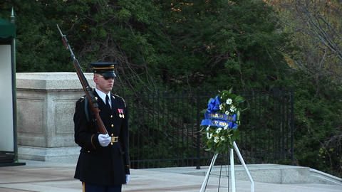 Soldiers guard the Tomb of the Unknown Soldier Stock Video Footage