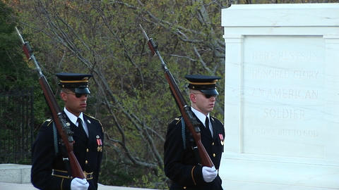 Soldiers guard the Tomb of the Unknown Soldier Footage