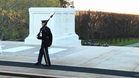 soldiers honorably guard the tomb of the unknown soldier... Stock Video Footage
