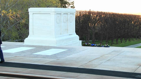 soldiers honorably guard the tomb of the unknown soldier in Washington DC Footage