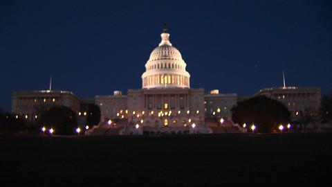 The Capitol building is beautifully illuminated at night Footage