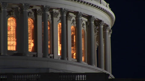 The camera slowly pans across the illuminated Capitol... Stock Video Footage