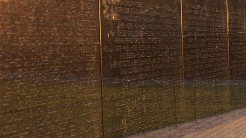 Close up of the Vietnam Veterans Memorial Wall with... Stock Video Footage