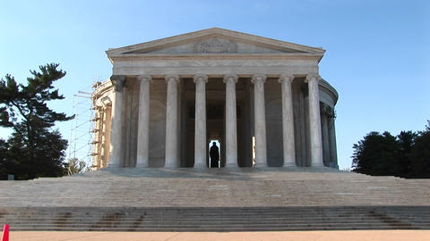 A statue of Thomas Jefferson is seen standing inside the Jefferson Memorial Building Live Action