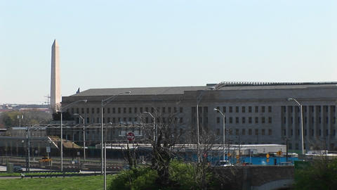 The Washington Monument is seen beside the Pentagon Stock Video Footage