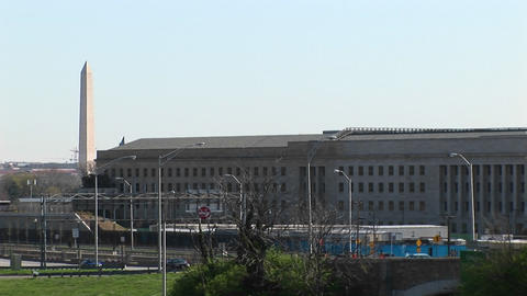 The Washington Monument is seen beside the Pentagon Footage